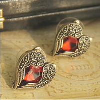 Wholesale Fashion jewelry beautiful earrings Wings Angel Wings retro ruby peach heart earrings