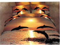 Wholesale oil painting lovely dolphin queen full bed linen sets cotton quilt duvet covers comforter sets pc