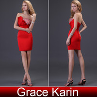 Wholesale 2013 Sexy Knee Length Sheath Evening Dress Red Satin Bandage Dress Formal Gowns CL3823