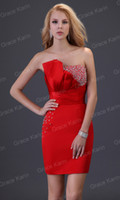 Wholesale Grace Karin Sexy Strapless Column Lace Up Prom Dresses Beading Mini Ball Cocktail Party Dress CL3823