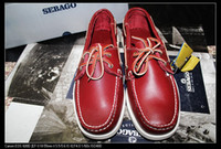 Wholesale boat shoes handmade first layer Lovers shoes Small fresh claret red have stock