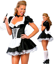 Wholesale Cosplay Sexy Adult Costumes For Women s French Maid Costume Late Nite Maid Uniforms Lace Up Outfits Plus Size F18065