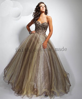 Wholesale Brown Ball Gown Tulle Prom Dress Sweetheart Tony Bowls Visible Boning Beaded Ruffled Hemline