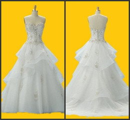Wholesale Actual Image Modern A line Princess Wedding Dresses Organza Applique Beading Wedding Bridal Dresses Sweep Train Wedding Gowns