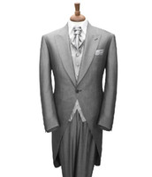 Actual Images Wool Blend Standard CUSTOM MADE TO MEASURE Tailored men's BESPOKE tuxedos tails,grey men suit tailcoat, men wedding suit(Jacket+Pants+Vest+Tie+Pocket Square)