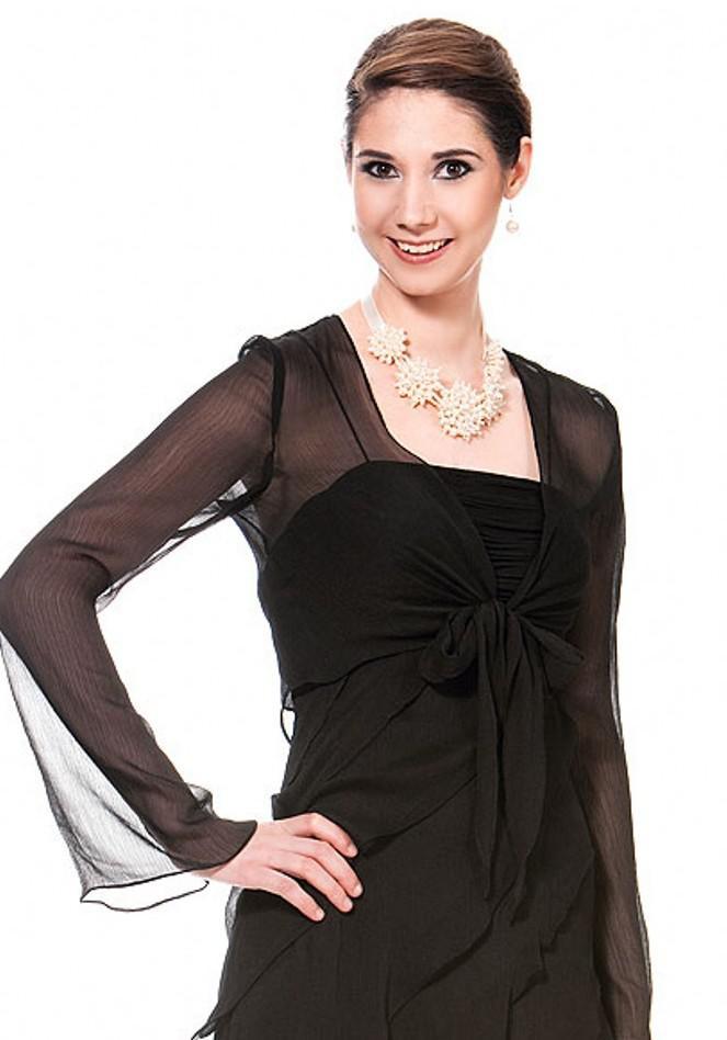 Long sleeves glamorous chiffon black jacket bolero for wedding dresses