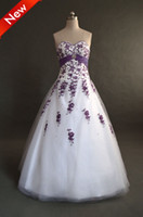 Wholesale A line Sweetheart Purple Embroidery Beads Taffeta Sash Ball Gown Lace up Tulle Prom Wedding Dresses