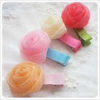 Wholesale New Fashion Girls Tulle Stereo Rose Hair Clips Children Hair Ornaments Kids Clip