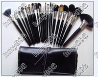 Cadeau gratuit!! EMS nouvelle pinceau de maquillage 24pcs maquillage pochette en cuir (10pcs / lot)