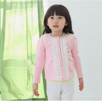 Wholesale 2013 New girl coat sweet leisure yarn collar lace collar children pink cardigan jacket JAN57
