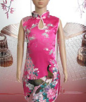 2-14 Summer TuTu Traditional Peacock Evening Dress Cheongsam Party Prom Qipao gown dress mixed 50 pcs lot #2520
