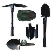 Wholesale Freeshipping pc garden Shovel Spade folding shovel spade garden camping snow shovel with compass LS