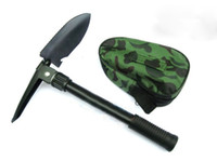 Wholesale TL Small size Tri Fold Shovel Steel Camping Shovel Pick Camouflage Pouch