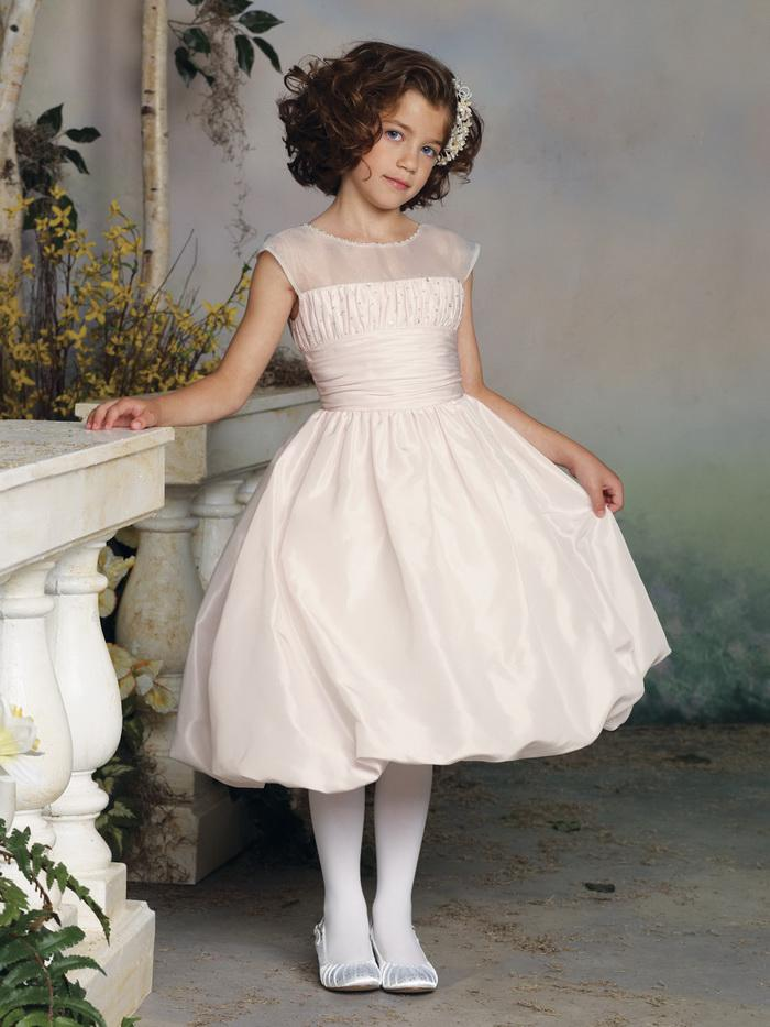 Cute Jewel Neck Flower Girl Elegant Dress A Line Taffeta Short ...