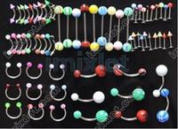 achat en gros de gros bijoux acrylique-De gros lots mélangés 70 UV acrylique langue barbell anneau,pinces anneau corps bijoux piercing bijoux f