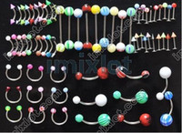Body Jewelry barbell piercing jewellery - mixed UV acrylic tongue barbell ring nipple ring body jewelry piercing jewellery f