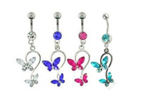 Body Jewelry belly bars dangle - 10pcs color for chooese Butterfly Dangle Ball Button Barbell Bar Belly Navel Ring Body Piercing