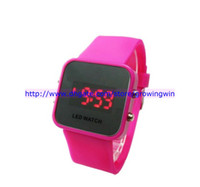 Wholesale 100pcs LED Mirror Watch Colorful Plastic Face Silicone Watch Soft Bands Red Light Sport Watch