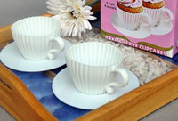 Wholesale NEW REUSABLE SILICONE CUPCAKE TEACUP CASES WITH SAUCERS BAKING TRAYS SET BOXED