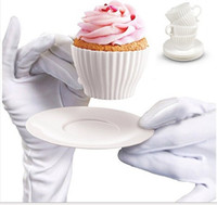 Wholesale 4pcs box Tea Cup Silicone Cupcake Moulds Baking Fun Party Cakes Muffin Mould Cup Saucers Boxed