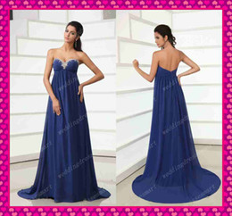 Wholesale Custom Navy Grace Empire Sweetheart Maternity Evening Dresses Sexy Beaded Chiffon Prom Gowns
