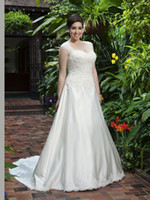 Wholesale New Detachable Train Sweetheart Satin Lace Applique Bridal Gown Ivory Plus Size Wedding Dresses