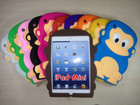 Wholesale Soft Silicone D Cartoon Monkey Case for iPad Mini cover cute skin tablet PC back cases Mix Color