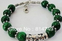 Wholesale Rare handmade beautiful Tibet Silver green jade Jewelry bracelet