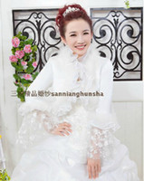 Wholesale Chic White Organza Bridal Jackets Faux Fur Bridal Wraps Winter Long Sleeves Bolero Lace Bride Cape