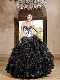 Wholesale Ball Gown Black and White Sweetheart Beaded Applique Ruffles Skirt Organza Quinceanera Pageant Dress