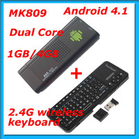 Wholesale Freeshipping MK809 Android Dual Core P D RK3066 TV Box G wireless keyboard