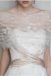 Wholesale White Tulle Bridal Cloak Wraps Bolero Bridal Shawl Shrug Beaded Middle Length Sheer Lace Up Back