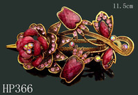 Wholesale hot sell Vintage Hair Jewelry Zinc alloy rhinestone flower hair clip hair accessorie Mixed colors HP366