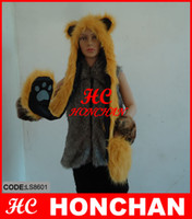 Wholesale 6PCS High Quality Fabric Multifunction Cartoon Animal Caps Spirit Hoods Gloves
