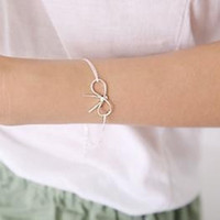 Pendant Necklaces Women's 1 Free Ship Pair Silver Plated Simple Bowknot Bracelet & Ankle Chain E5051