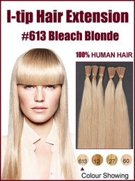 Wholesale 12 quot quot g pc bleach blonde Stick I tip Hair Straight Remy Human Hair Extensions