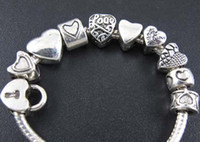 Wholesale 100pcs Tibetan Silver Mix Heart Spacer Charms Beads Fit European Bracelet