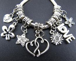 140pcs lot Heart Love Star Rose Metal Big Hole Charms Beads Tibetan Silver Fit European Bracelet