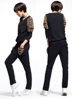Wholesale Womens Plus Size Black Leopard Fashion Sport Suit Set Long Sleeve Hoody Casual Pants Tracksuit d