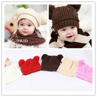 Wholesale New Fashion Korean Baby Love Dual Ball Girls Boys Wool Knit Sweater Cap Hat colors A0036