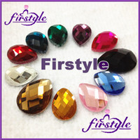 Wholesale Pear beads x25mm faceted flatback rhinestones droplet fancy stone Rose aquamarine rainbow more