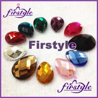 Wholesale Pear beads x25mm faceted flatback rhinestones droplet fancy stone Rose aquamarine rainbow more