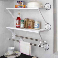 Wholesale H239 Double deck double rod bathroom kitchen shelves towel rack Washcloth Shelf kitchen racks FreeSh