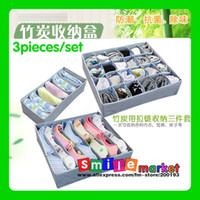 Wholesale 3pcs Set Bamboo Charcoal Fiber Non Woven Storage Boxes for Bra Socks Briefs Scarf