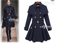 Wholesale 2016 new Women s double breasted Shoulder cape coat Women s Detachable cape Slim woolen coats