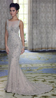 Wholesale 2014 Hot Sexy One stopos Mermaid Evening DressesTulle Sleeveless Beaded Rhinestone Wedding Dresses