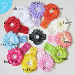 Wholesale Headbands For Babies Candy Colors Elastic Knitted Babies Headbands Flower Headbands