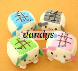 Wholesale New Cute cartoon tofu small plush charm Mobile phone Strap Pendant