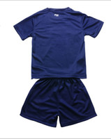 Wholesale Paris Saint Germain home kid dark blue kit soccer jersey season Mix order