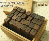 Wholesale Wooden Box Diary Adornment Collection Seal capital letters pc set Small Seal Stamp